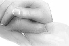oude hand vasthouden