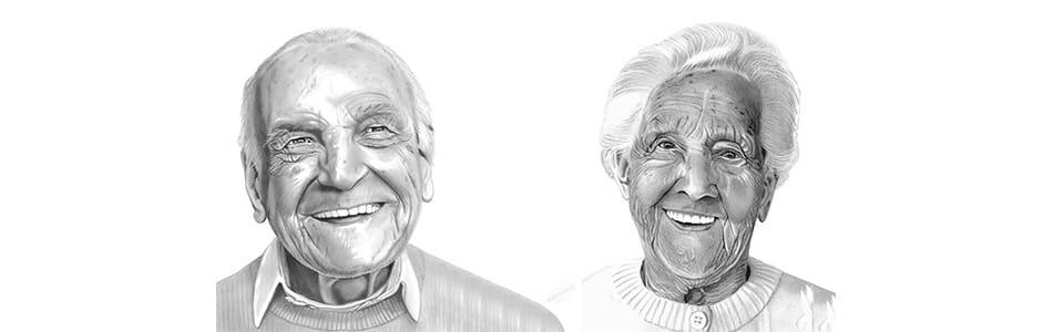 Oude lachende mensen